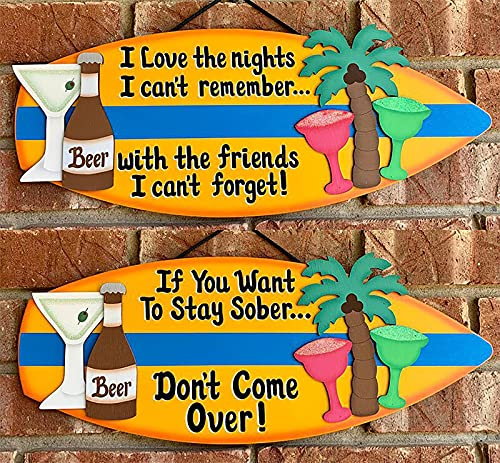 kaidan Surfboard Decorations,Surfboard Hanging Decoration Tropical Style Wooden Sign,Beach Signs and plaques,Wooden Surfboard Art Sign Plaque Beach & Surf Prop Decoration (A+B)