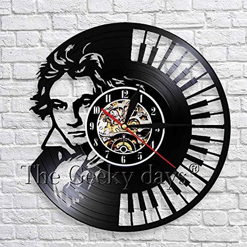 JXWH Musiker Straße Silhouette Schatten Wand Art Deco Uhr Retro Musik Klavier Tastatur Schallplatte Wanduhr