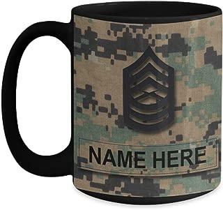 US Marine Corps Coffee Mug - Personalized Name & Rank, Customized Gift for USMC (15 oz - Rank - E-8, Master Sergeant, MSgt, Black - Rank - E-8, Master Sergeant, MSgt)