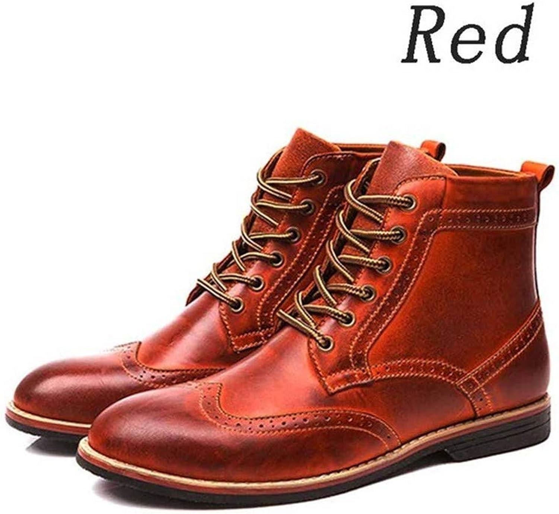 Jiahe Männer und Frauen Schnüren Martin Stiefel Stiefeletten Army Combat Kunstleder Stiefel Futter Round-Toe Stiefel Große Größe Cowboy Reitstiefel,rot,42  | Primäre Qualität