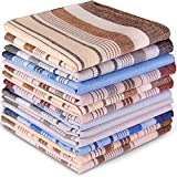 Handkerchiefs for Men, Ohuhu 100% Pure Cotton Pocket Square, Men's Handkerchiefs 12 Piece Gift Set 4 Color Hankies Perfect Gifts