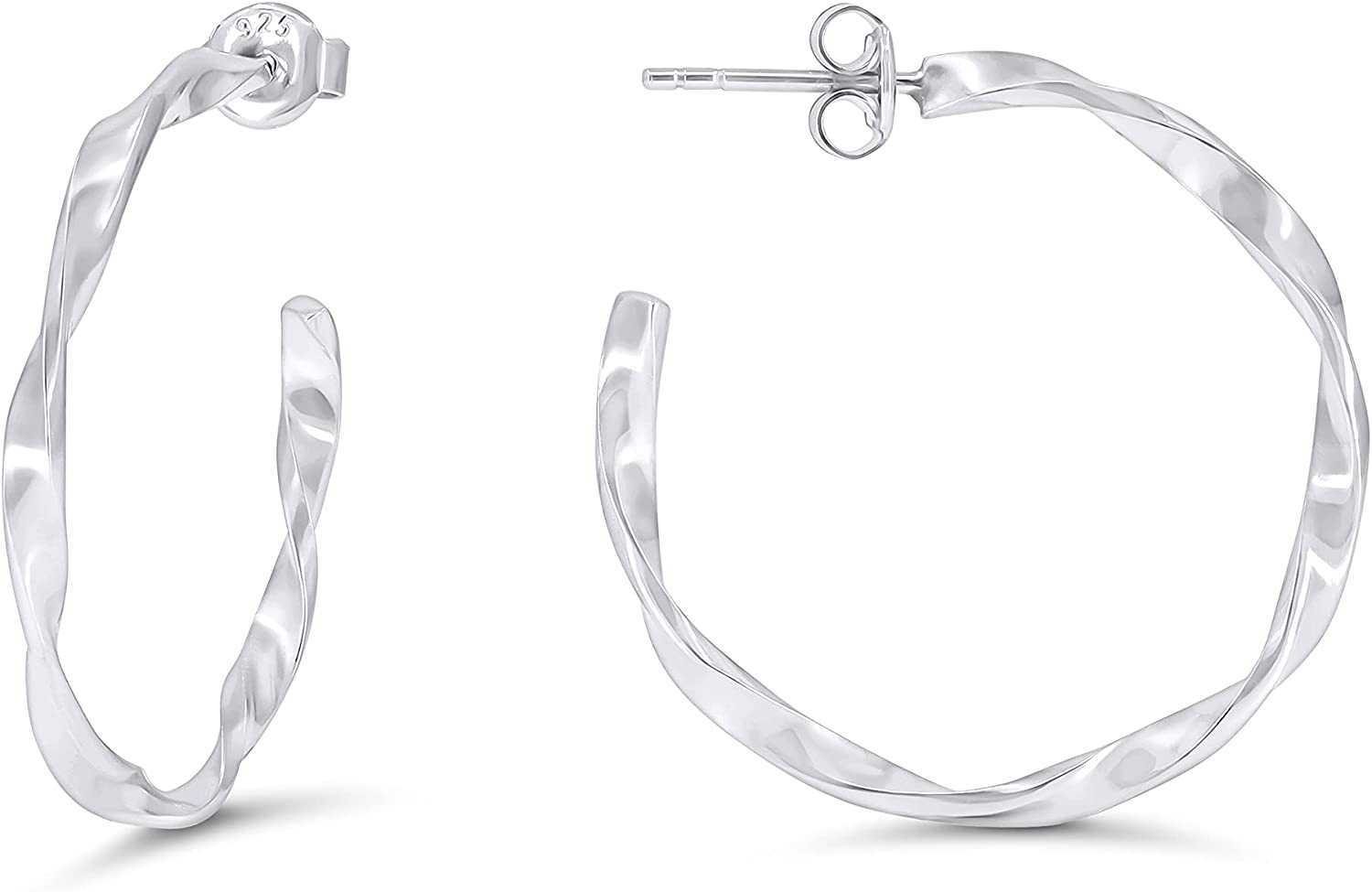 Popular brand in the world 925 Sterling Silver Max 66% OFF Twisted Hoop Earrings for Women Hypoallerge