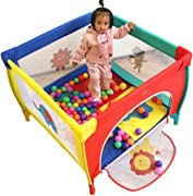WJSW Baby Toys Kids Activity Centre Foldable Playpen Portable Indoor and Outdoor Infant Playpen Lightweight Household Protective Crawling Fence with Cushion Height 65 5cm  Size 100x100cm  Safety