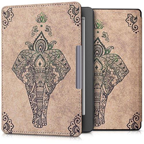 kwmobile Hülle kompatibel mit Kobo Aura Edition 2 - Kunstleder eReader Schutzhülle Cover Case - Elefant Zeichnung Grün Beige