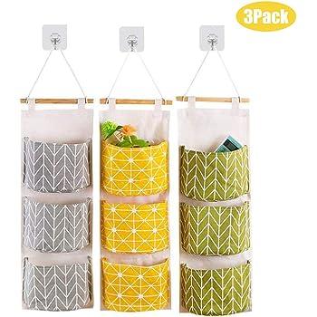 YUESEN Storage Bag Wall Hanging Storage Bag with 3 Remote-Sized Pockets for Bedroom White Bathroom Hanging Pocket Organizer