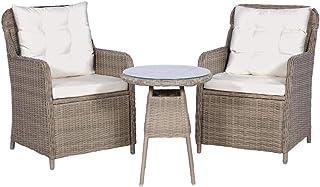 UnfadeMemory Muebles de Jardin Exterior con Cojines,2 Sillones+1 Mesa,Marco de Acero,Ratán Sintético,Impermeable (Marrón y Blanco Crema)