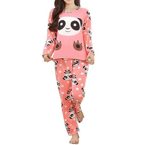 d75e840577c5 MyFav Children Girl Pajama Long Sleeve Sleepwear Cute Big-Eye Panda  Nightclothes