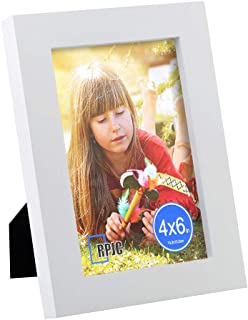 RPJC 4x6 Picture Frames Made of Solid Wood High Definition Glass for Table Top Display and Wall Mounting Photo Frame White