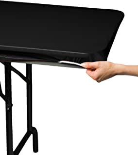 "Creative Converting 701000 Stay-Put Plastic Table Cover, 29"" x 72"", Black"