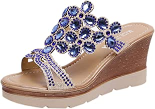 Loosebee◕‿◕ Women Slippers,Bohemia Crystal Shoes Wedges Thick Peep Toe Sandals Mid-Heel Slippers Fish Mouth Slippers