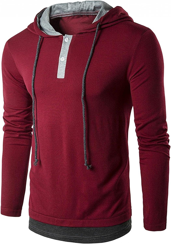 Men's Sweatshirts Fashion Mens Athletic Hoodies Buttons Drawstring Casual Sweatshirt Long Sleeved Sport Gym Pullover