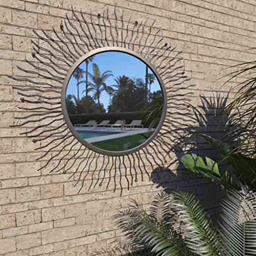 Festnight Metall Wandspiegel Vintage Gartenspiegel Spiegel Freien im Antik-Look Schwarz Sonnenform 80 cm
