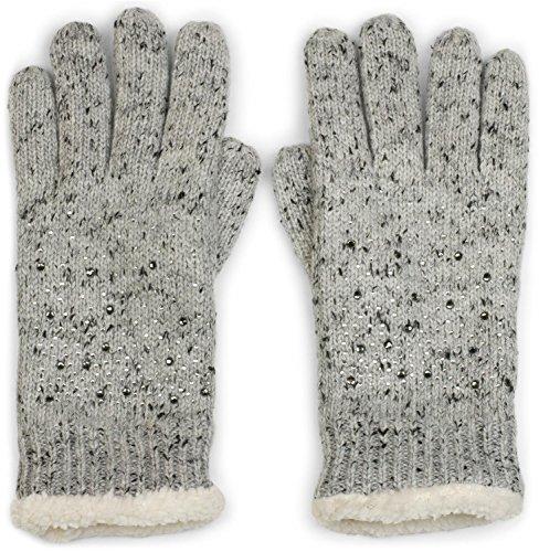 styleBREAKER warme Handschuhe mit Strass und Fleece, Winter Strickhandschuhe, Damen 09010010, Farbe:Hellgrau meliert (One Size)