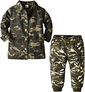 Xifamniy Newborn Boys Camouflage Style Two-Piece Denim Pants and Jacket Set