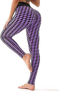 SEASUM Women's High Waist Butt Yoga Leggings Ruched Running Workout Textured Pants Booty Push Up
