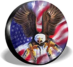 LAIUE Eagle American Flag Universal Fit Spare Tire Cover Waterproof Keeps Dirt Rain and Sun Away from Your Spare Tire