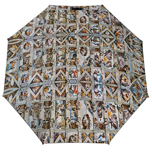 Lidanie Travel Umbrella Windproof Automatic Umbrellas Michaelangelo Sistine Chapel Ceiling Umbrella with UV Protection Auto Open & Close Folding Umbrella