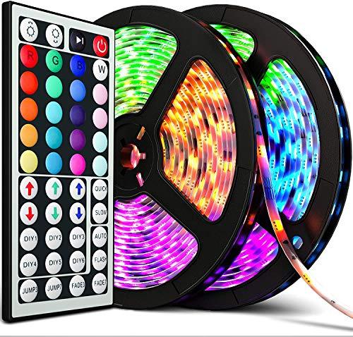 LED Strip LED Streifen 10M (2x5m) RGB SMD 5050 300LED mit 44Tasten Fernbedienung, 12V Netzteil, IP65 Wasserdicht für die Weihnachtsküche, TV-Bildschirm (RGB) inkl. Farbwechsel, selbstklebend