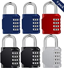6 Pack Locker Lock - 4 cijferige resetable combinatie hangslot voor school Gym Locker, Sport Locker, Hek, Mailbox, Toolbo...
