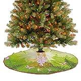 Alfombra mágica para faldas de árbol, con peinado floral en verde bosque rosa, mariposas para interi...