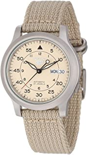 5 Snk803 Snk803k2 Men's Beige Fabric Band Military Dial Automatic Watch