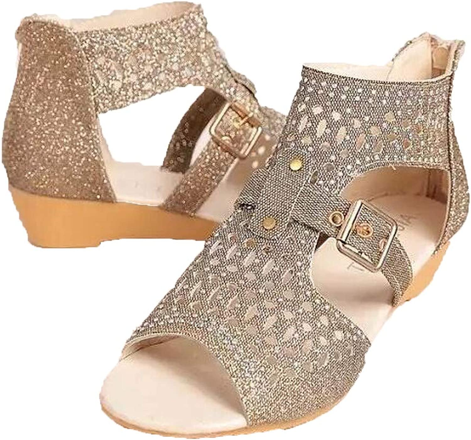 WTKRSM Women's Open-Toed Diamond Sandals with Sloping Heels and Summer Style Personality Sandals