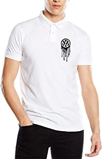 SHENGN Men's Customized Sweaty Volkswagen_Logo_Bleeding Short Sleeve Funny Polo T Shirt White