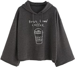 Women Gray Letter Print Hood Sweatshirt Pullovers