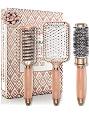 Lily England Rose Gold Hair Brush Set - Luxury Professional Hairbrush Gift Set for All Hair Types - Haarborstel Set - Rose Gold
