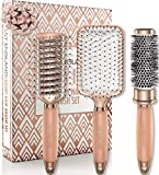 Lily England Set de Cepillos de Pelo Luxury para el Cabello - Cepillo Plano, Cepillo Redondo Cilíndrico de Secado y Peine- Oro Rosa
