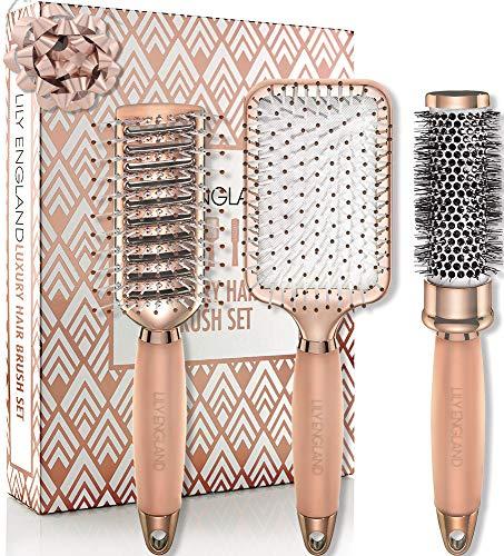 Haarbürste Set mit Rundbürste, Paddle Brush und Skelettbürste | Stets die Perfekte Bürste für ein professionelles Haar Styling in glamourösem Rosegold, Lily England