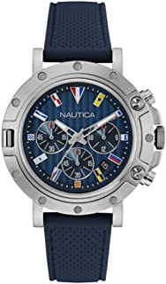 Nautica Men's Analogue Quartz Watch With Silicone Strap Nad17530G, Blue Band