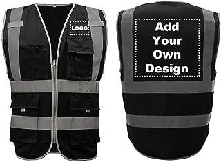GOGO High Visibility Safety Vest Custom Logo 8 Pockets Black Big Size Outdoor Work Reflective Vest-Black-3XL