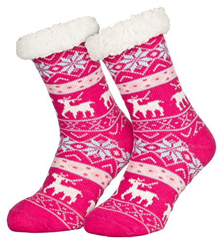 Piarini 1 Paar Kuschelsocken mit ABS Sohle - warme Damen Socken Hüttensocken - Wintersocken mit Anti Rutsch Noppen - Deer-Pink (One-Size)