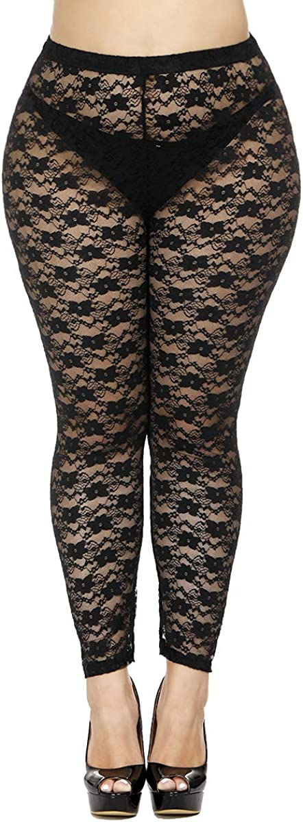 CURRMIEGO Women's Plus Size Stretchy Lace Pattern Capris Leggings Tights