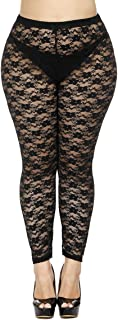 Women's Plus Size Stretchy Lace Pattern Capris Leggings Tights