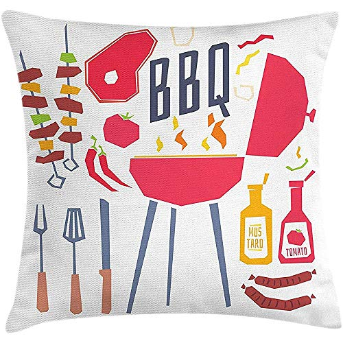 sherry-shop BBQ Party Throw Pillow Kissenbezug, Grillstation mit Utensilien Lebensmittel und Gewürze Cartoon Party Zusammensetzung, Multicolor 20X20In