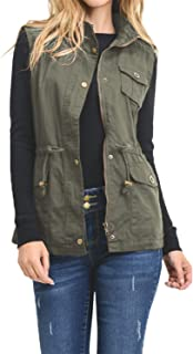 J. LOVNY Womens Utility Military Sleeveless Vest Anorak Lightweight (S-3XL)