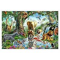 ジグソーパズル-1000ピースパズル、75.5 X 50.5cm、象キリン動物公園