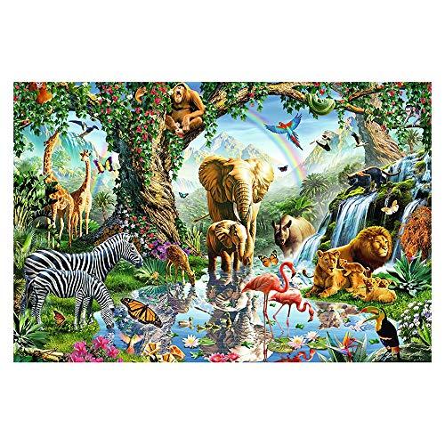 Puzzle-s Jigsaw 1000 Stück, 75.5 X 50.5cm, Elefant Giraffe Tierpark s