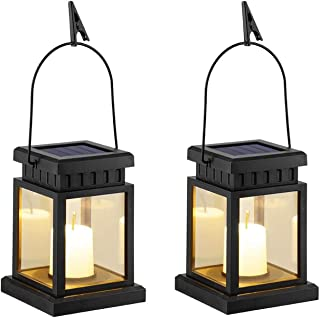 SLGOL 2 Pack Solar Hanging Lantern Outdoor, Candle Effect Light with Stake for Garden,Patio, Lawn, Deck, Umbrella, Tent, T...