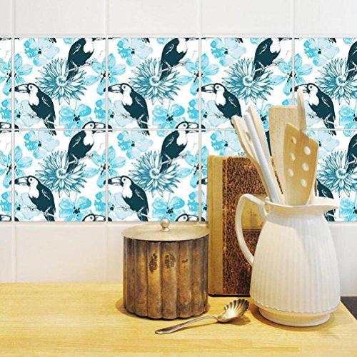 MINRAN DECOR J Art de tuiles Mural - Adhésif carrelage   Sticker Autocollant Carrelage - Mosaïque carrelage Mural Salle de Bain et Cuisine   - 20x20 cm - 10 pièces TS005