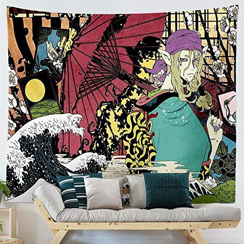 KHKJ Tapiz Colgante con Estampado de Ukiyo de Dibujos Animados de Estilo japonés, tapices para Colgar en la Pared, Colcha Boho, Manta para Estera de Yoga A8 200x150cm
