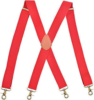 AYOSUSH Vintage Suspenders for Men 4 Snap Hooks for Belt Loops Adjustable X Back