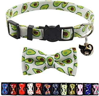 Cat Collar Breakaway with Bell and Accessories,  Printing Kitten Collar Bowtie for Kitty 19 Colors Adjustable 7.5-11in