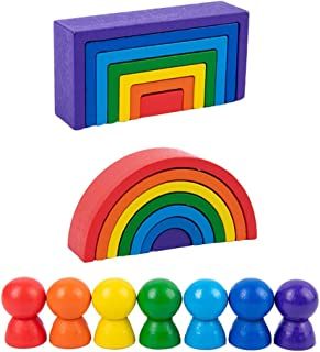 Toddmomy Wooden Rainbow Stacker Wooden Peg Dolls Stacking Game Nesting Puzzles Building Blocks Educational Toys Shape Matc...