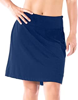 "Yogipace Women's 4 Pockets UPF 50+ 17"" Long Running Skirt Athletic Golf Skort with Tennis Ball Pockets Built in Shorts"