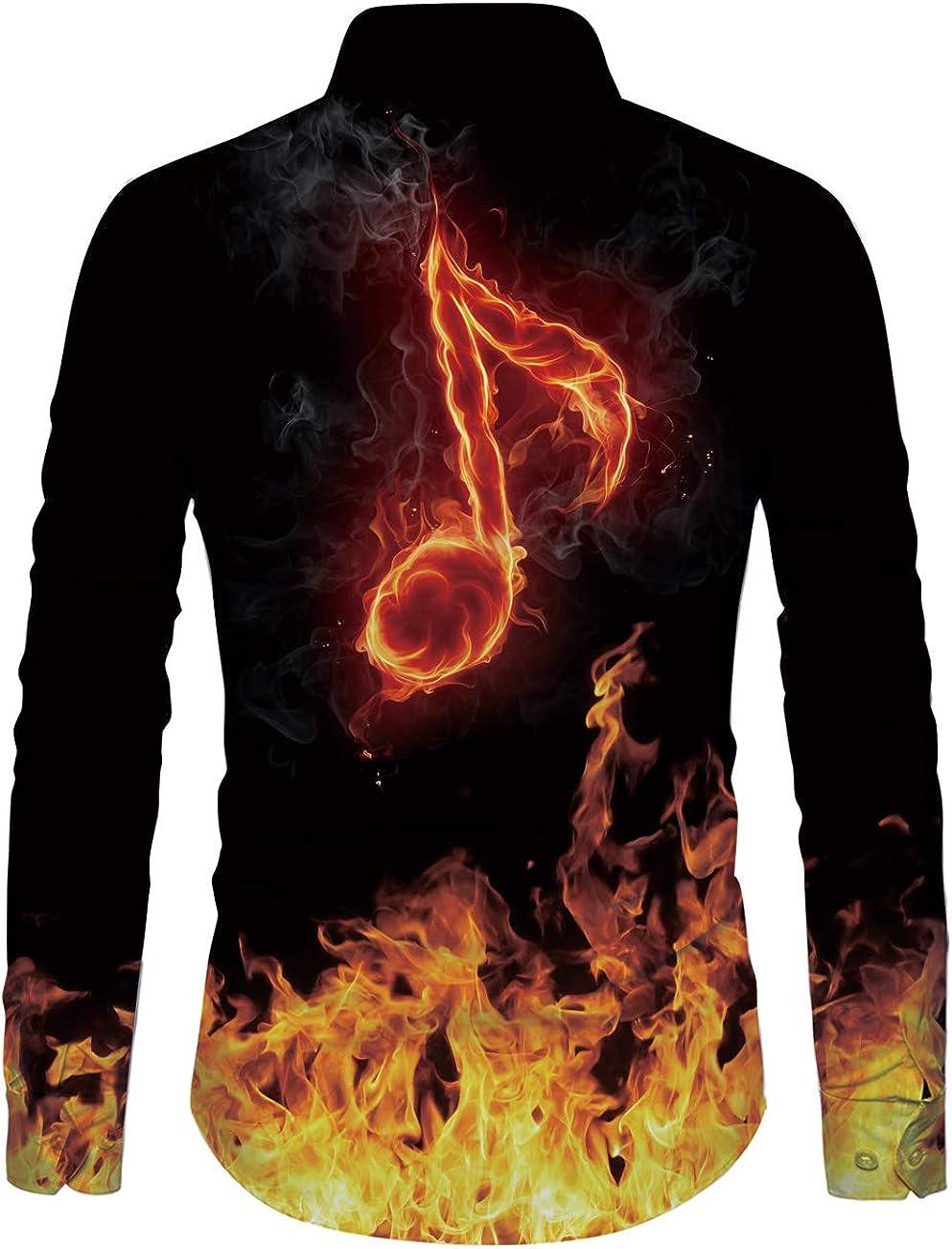 Fanient Herren Freizeithemd Button Down T-Shirts Langarmshirts Blumenhemd 3D Gedruckt Muster Hemd Arbeitshemd