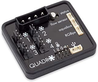 Aqua Computer Quadro - Control de Ventilador para Ventilador PWM con Conector para Ambiente/iluminación de Fondo