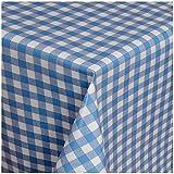 TEXMAXX Wachstuchtischdecke Wachstischdecke Wachstuch Tischdecke abwaschbar (112-01) - 240 x 140 cm - PVC Tischdecke abwischbar, Karriertes Muster in Blau-Weiss